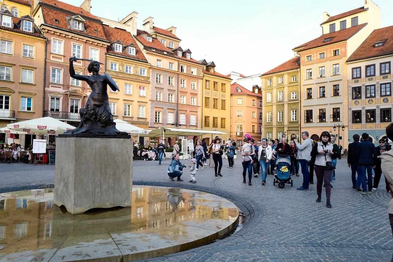 바르샤바 구시가지 광장 풍경 경유지 바르샤바