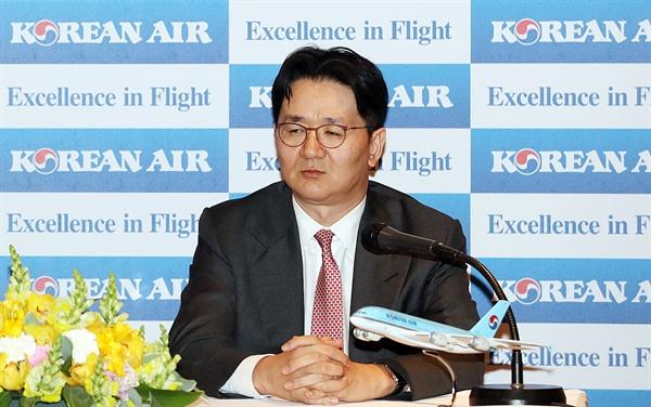 회사 행사 참석중인 조원태 조원태 대한항공 사장이 지난 3월 20일 오후 서울 강서구 대한항공 본사에서 열린 한 행사에 참석하고 있다.