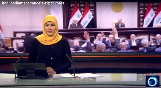 프레스tv의 이라크 의회 결정 보도 이라크 의회가 재외 투표의 결과를 무효화하기로 했다는 프레스tv 보도