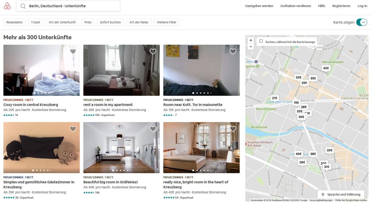 에어비앤비로 인해 가장 큰 피해를 입고 있는 것으로 알려진 크로이츠베르크(Kreuzberg) 지역 일부의 에어비앤비 검색 모습. 지도 내 구역에만 300곳이 넘는 것으로 나타난다.
