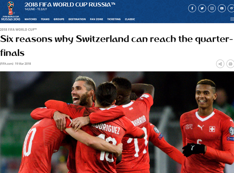 스위스 대표팀 스위스가 이번 월드컵에서 8강 진출을 목표로 하고 있다.