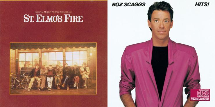 명 프로듀서 데이빗 포스터가 만든 OST < 성 엘모의 불 >, 보즈 스캑스의 < Hits > 표지.  이들이 만든 세련된 감각의 AOR 음악은 1980년대 일본 시티팝에도 지대한 영향을 끼쳤다.