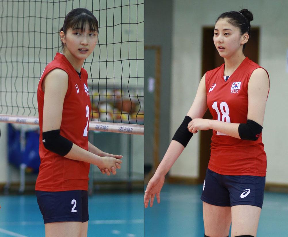 여자배구 청소년 대표팀, 이주아(186cm·원곡고)와 박혜민(181cm·선명여고·오른쪽)