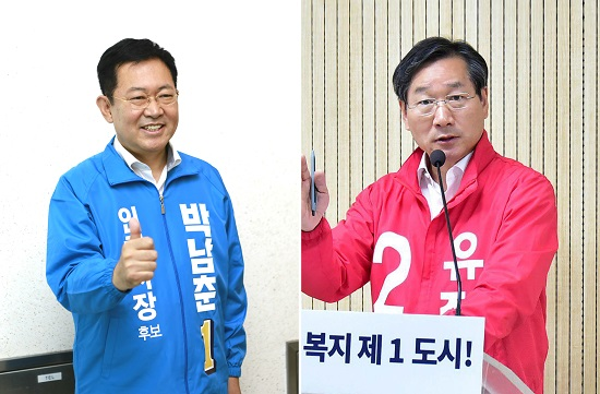인천시장선거 민주당 박남춘(왼쪽) 인천시장 후보와 한국당 유정복 후보
