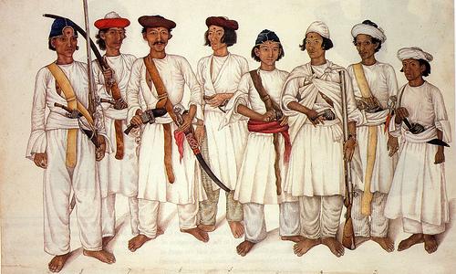 구르카 전쟁 당시의 구르카 병사들.