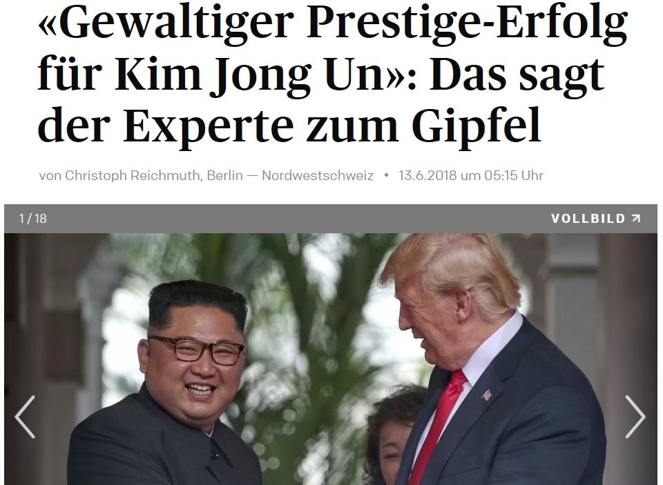 김정은과 트럼프 북미정상회담을 보도한 스위스의 '아르가우어 차이퉁 (Aargauer Zeitung)'.
