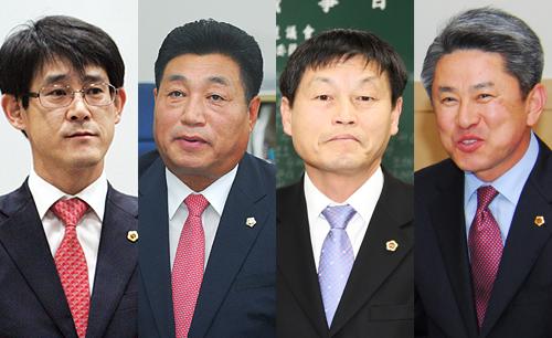 지난해7월충북지역물난리당시외유를떠나물의를일으켰던충북도의회의원4인방.이들중3명이지방선거에도전장을내밀었지만결과는참담했다.