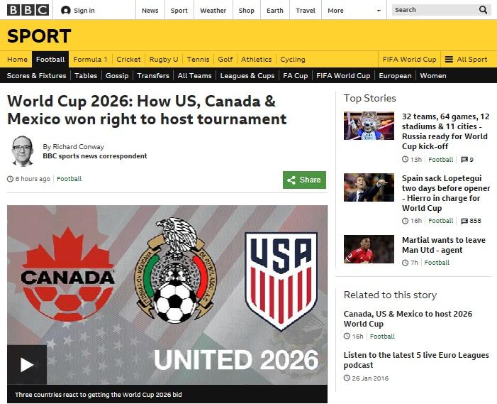 미국, 캐나다, 멕시코 3국의 2026 월드컵 유치 확정 소식을 전하고 있는 BBC