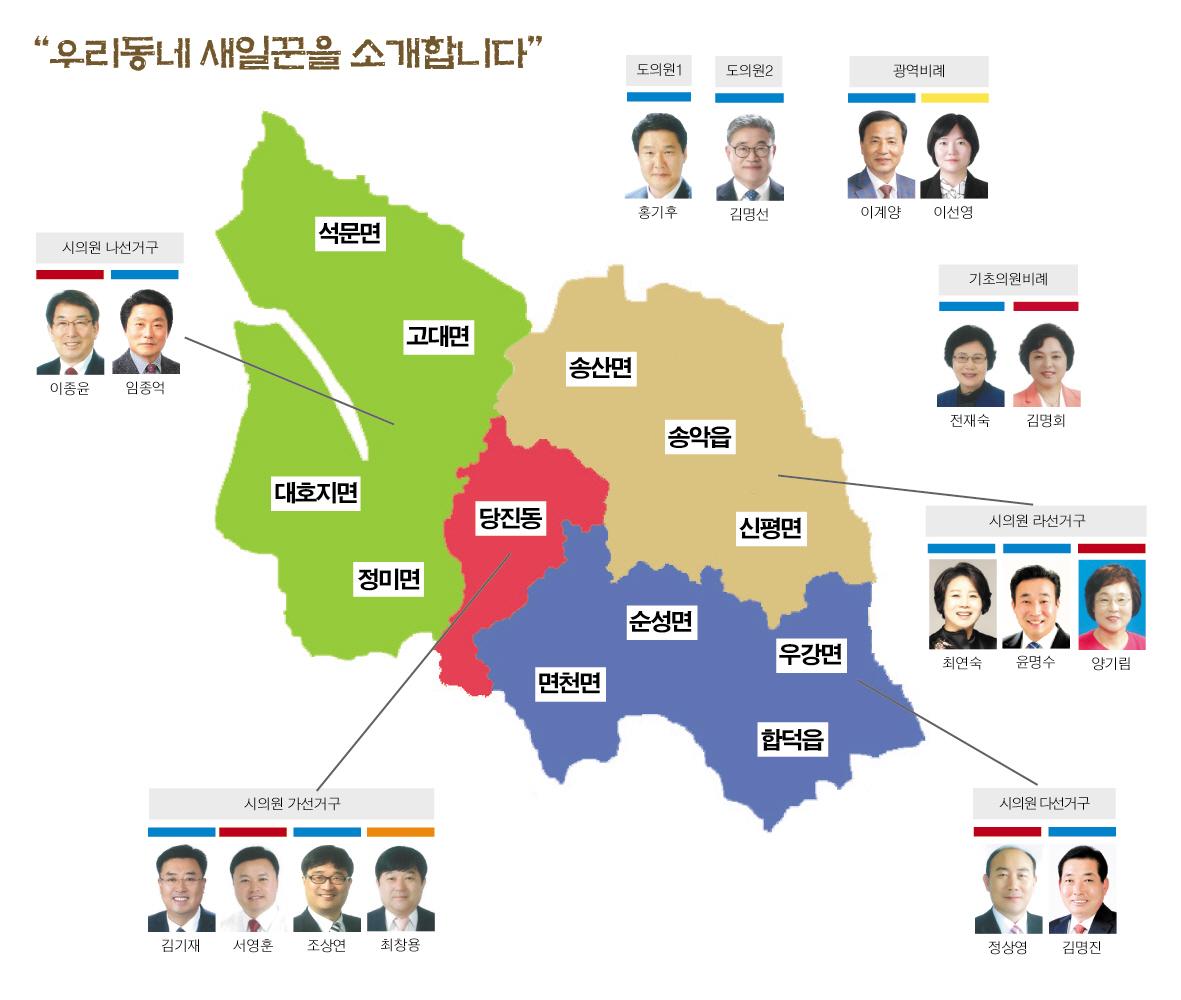 613지방선거 중 당진지역 당선자 김홍장 당진시장을 제외한 지역구 당선자들. 민주당 바람이 당진을 피해가지 않았다.