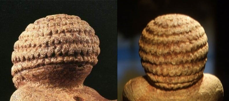 빌렌도르프 비너스 머리 머리를 보면 울퉁불퉁 뭔가 아주 세밀하게 조각했는데, 정작 눈 코 입 귀는 조각하지 않았다.