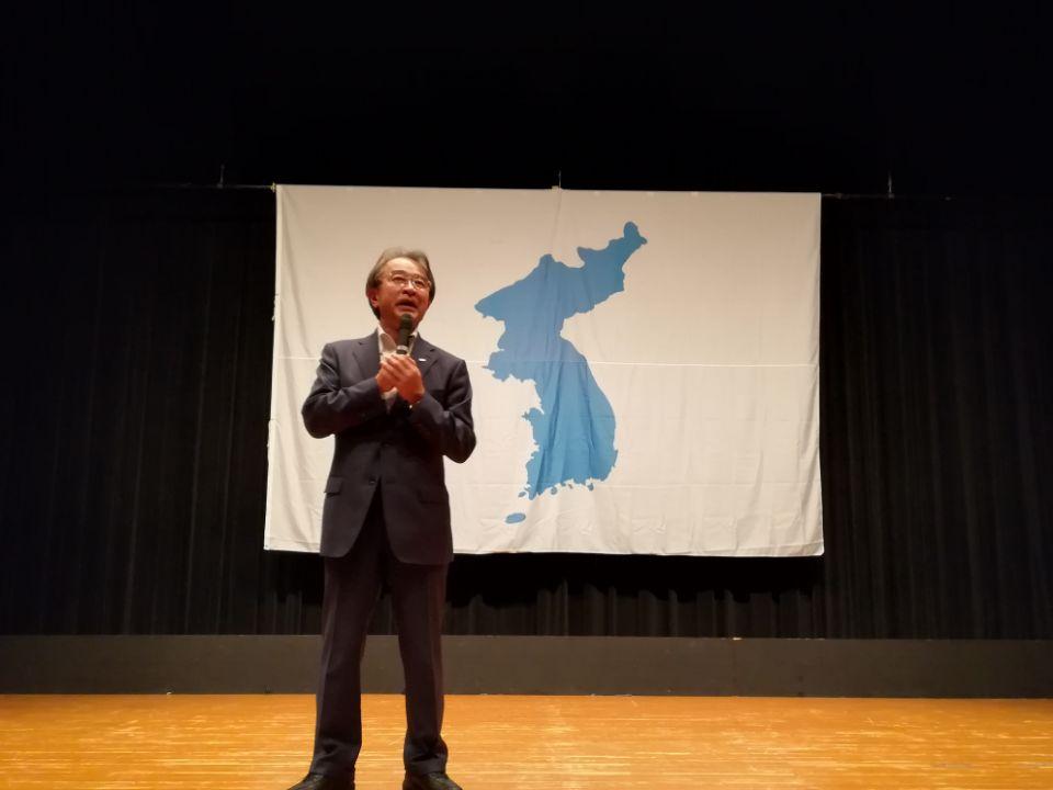 '공범자들' 나고야 상영회 인사말을 하는 입헌민주당 곤도 쇼이치 의원