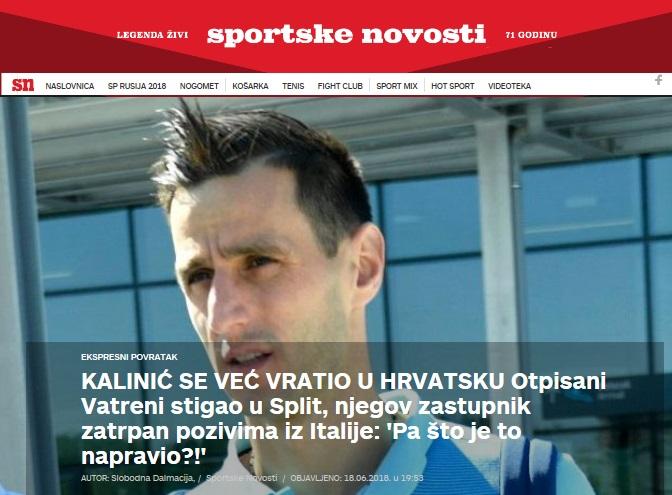 교체 출전 거부로 월드컵 도중 귀국길에 오른 칼리니치의 모습