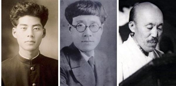 1945년 해방 이후 월북한 예술인들. 왼쪽부터 시인 백석, 소설가 박태원과 홍명희