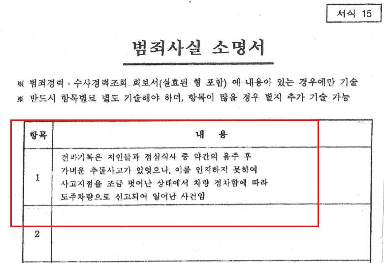 자유한국당 공천 심사 소명서