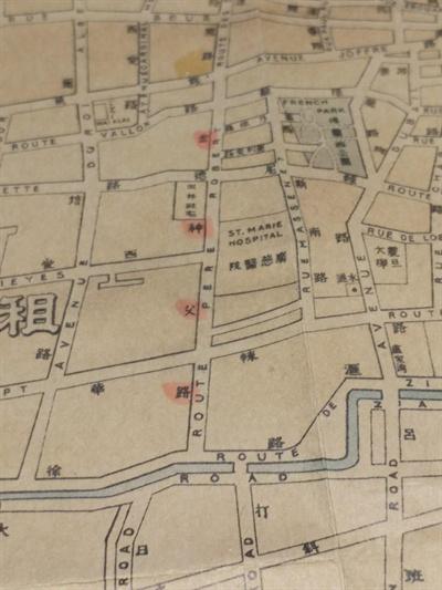 상하이 첫번째 임시정부 청사가 있었던 김신부로(현재 서금이로) 지도. 이곳에서 대한민국 민주공화정이 탄생했다.