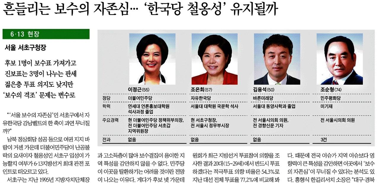 '철옹성'등 전쟁 이미지를 심어준 용어를 사용한 한국일보 (6/1)