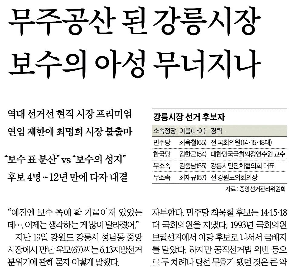 '보수의 아성'이라며 지역주의 용어를 사용한 중앙일보 (6/1)