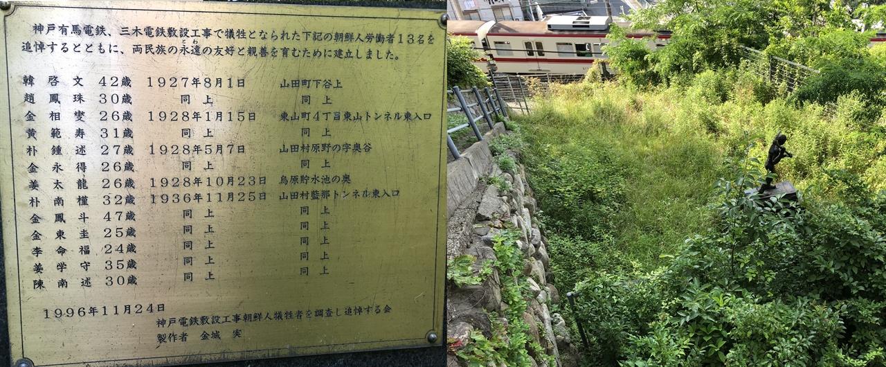 고베철도부설공사 조선인 노동자 상 뒤쪽에 새겨진 사망자 이름과 철로에 전차가 지나가고 있씁니다.