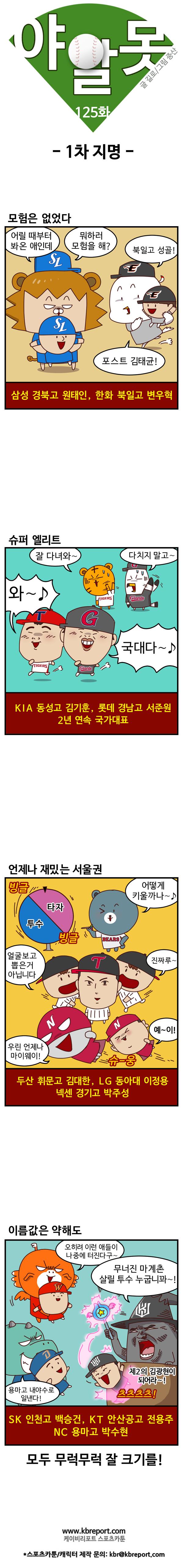 [프로야구 카툰] 야알못 125화: 10개구단 1차지명