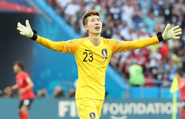 '내가 오늘의 MOM'  27일(현지시간) 러시아 카잔 아레나에서 열린 2018 러시아 월드컵 F조 조별리그 3차전 한국과 독일의 경기. 2-0으로 대한민국이 승리하자 조현우가 환호하고 있다.