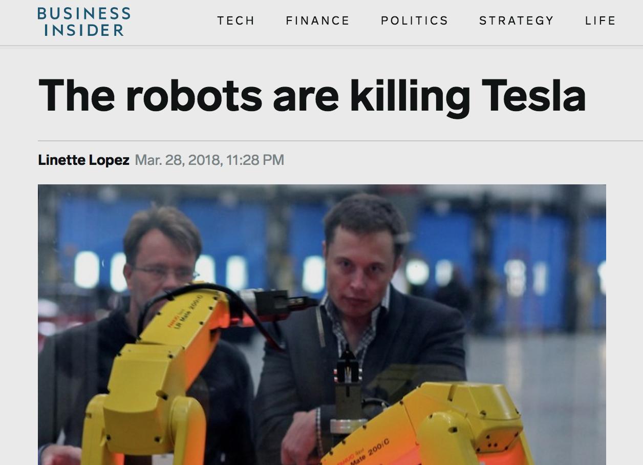 테슬라 자동차는 자동화로 인한 혁신과 원가절감을 경쟁력으로 내세웠지만, 자동화에 대한 집착이 오히려 생산효율성을 위협하고 있다. 영미언론은 경영자문업체의 보고서를 인용해 '자동화가 테슬라를 죽인다'고 보도했다.
