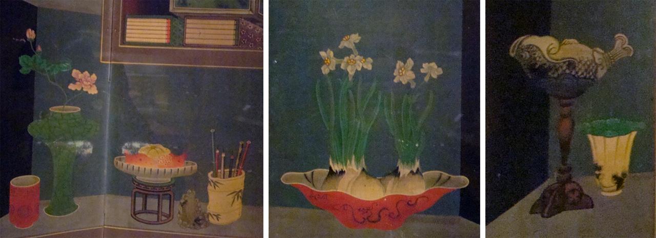 이형록-<책가도 10폭 병풍>(국립중앙박물관 소장)부분. 첫번째 그림에선 오늘날 연필과 크게 다르지 않는 연필을 담아놓은 연필통이 보이고, 두번째 그림에선 알뿌리채로 꽃을 피운 수선화가 보인다. 세번째 장식물도 독특하다.