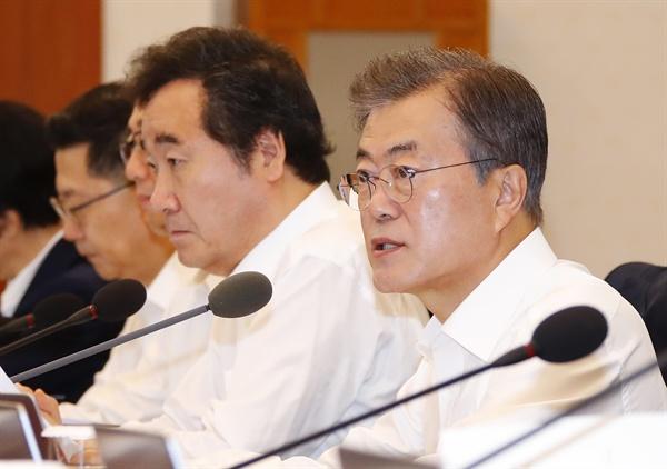 문재인 대통령이 3일 오전 청와대에서 열린 국무회의에서 발언하고 있다.