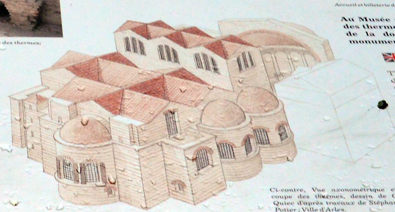 콩스탕탱 목욕탕 복원도. 로마제국의 목욕탕은 잘 구획되고 상당히 화려한 모습이다.