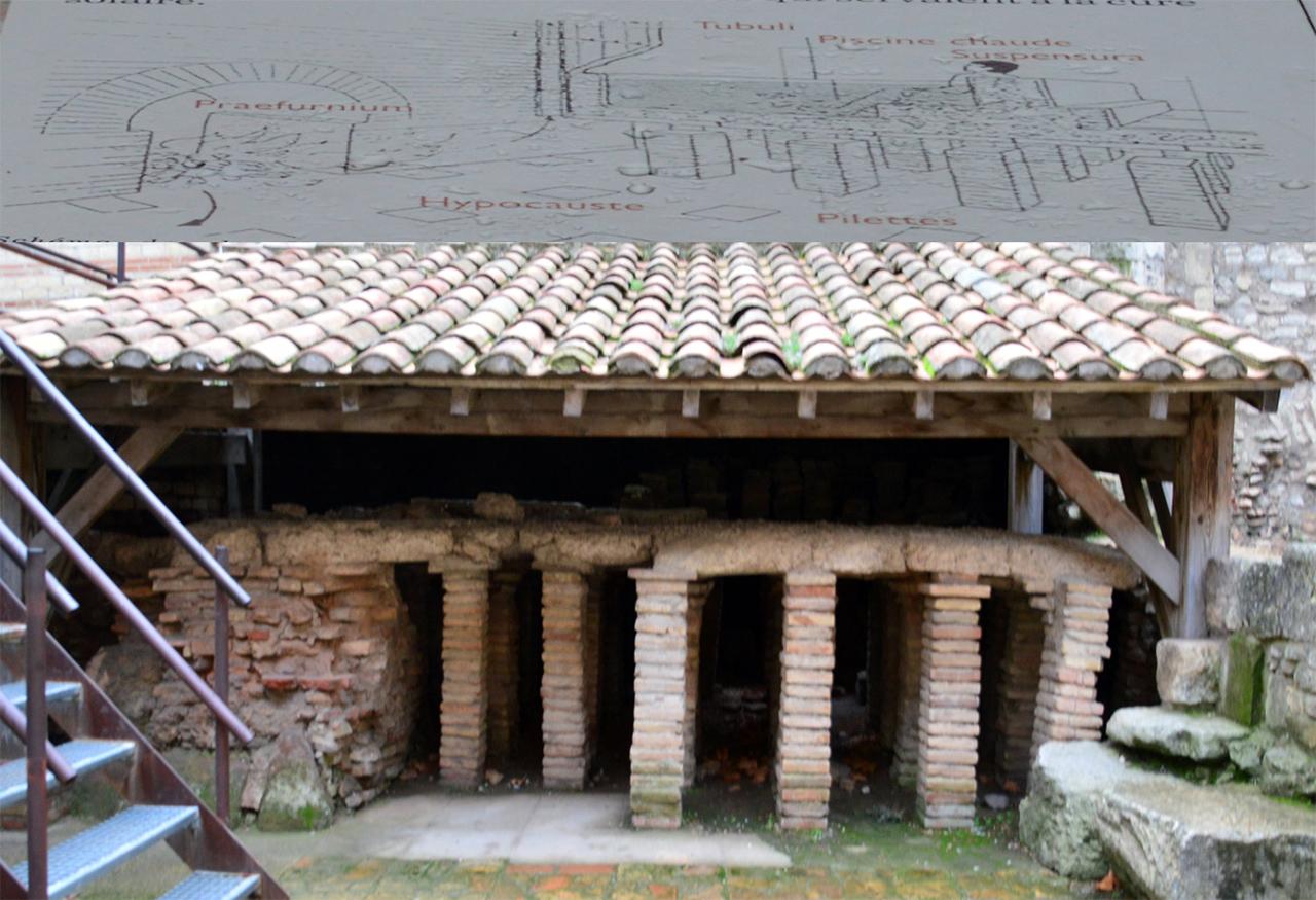 목욕탕 온탕. 로마인들은 상당히 높은 벽돌 구조 위의 욕조 속에서 목욕을 즐겼다.