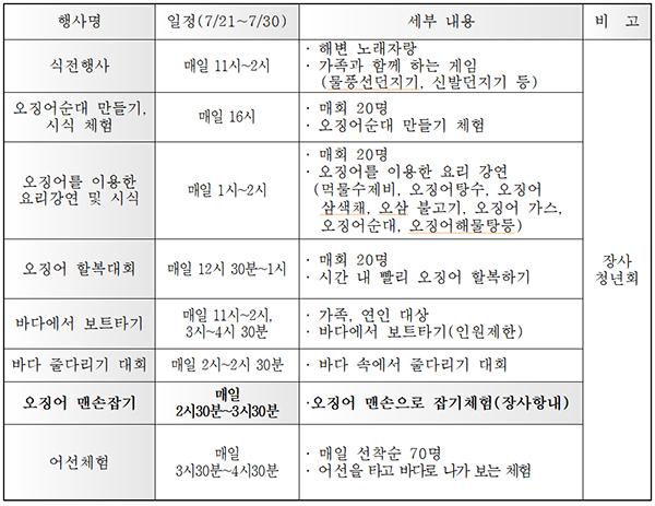 2018속초 오징어맨손잡기 축제 일정표