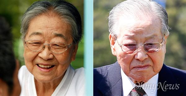 고인이 된 김희숙 여사(왼쪽)와 김종필 전 총리(오른쪽). 둘의 삶은 한국사회의 모순을 여실히 보여준다.