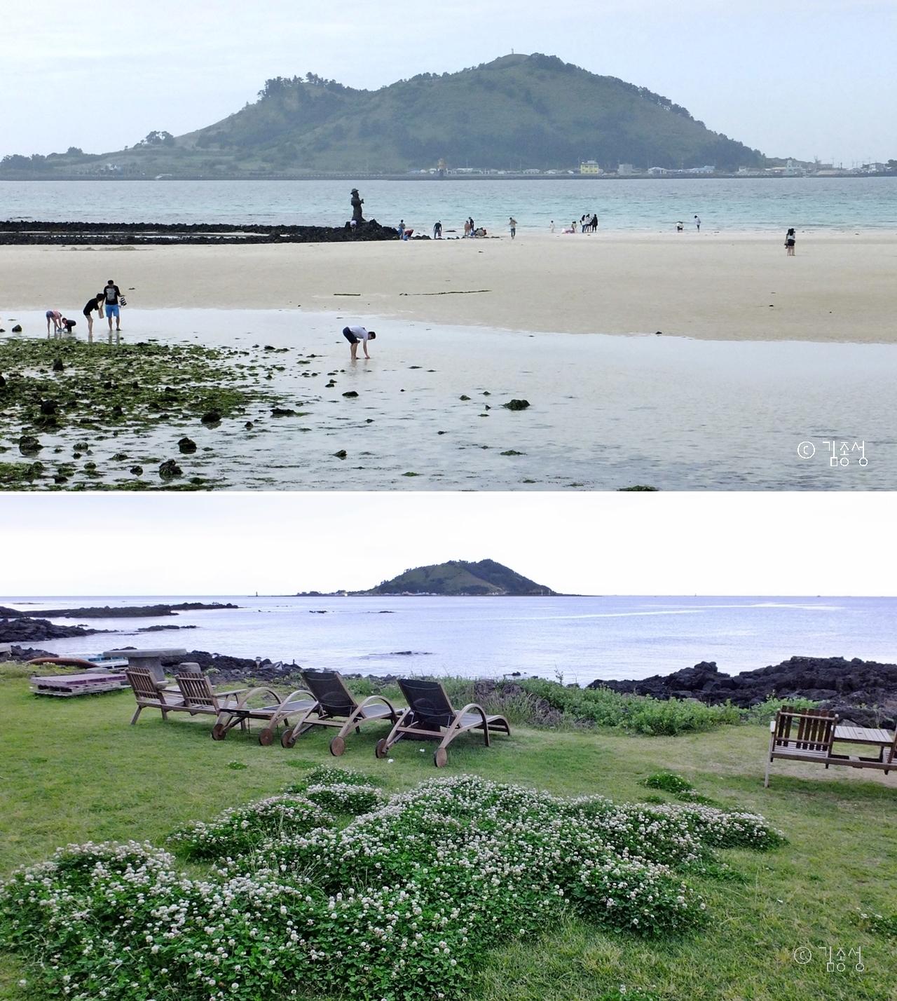 해변에 따라 다르게 보이는 비양도.