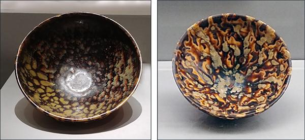 흑자 대접1 거북등껍질 무늬 흑자 대접(왼쪽), 호랑이가죽무늬 흑자 대접