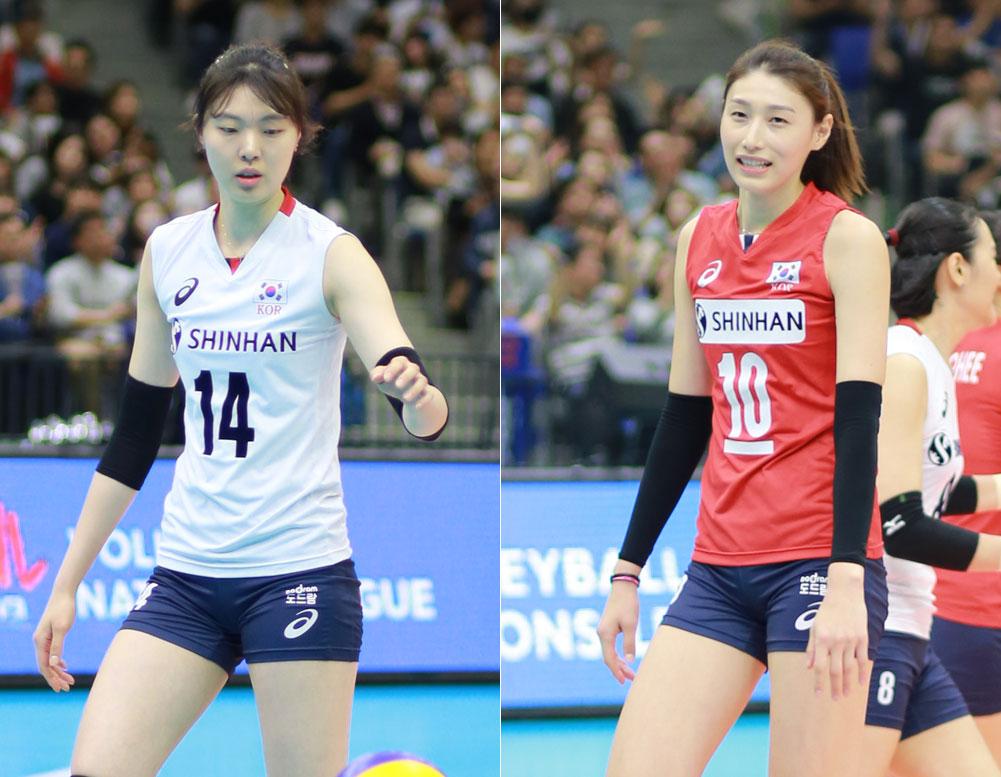 양효진(190cm)과 김연경(192cm) 선수