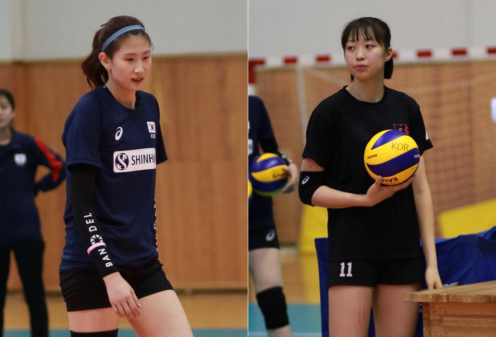 김수지(188cm·왼쪽)와 박은진(188cm·선명여고·오른쪽)