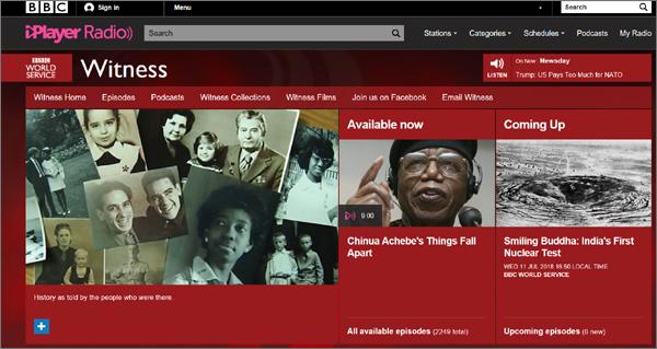 산내학살사건 유족 이계성(79)씨와 전화인터뷰를 진행한 영국 BBC라디오 'Witness(목격자)' 홈페이지 화면.