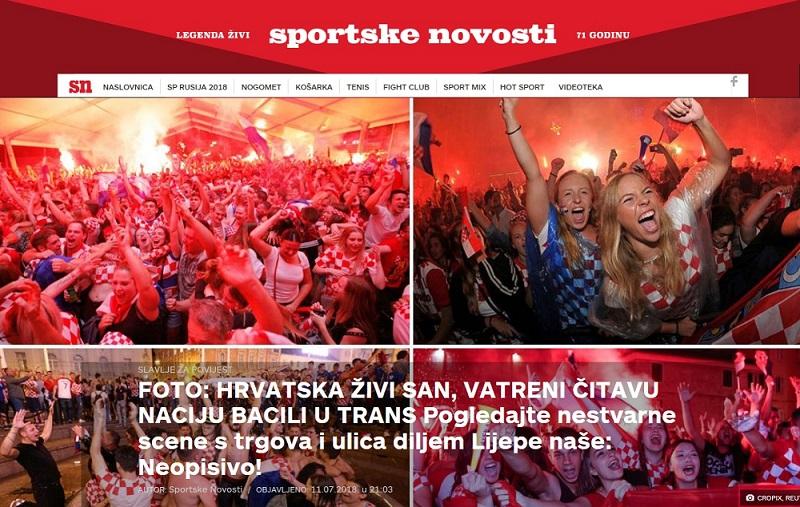 크로아티아 축구팬들이 자국 대표팀의 월드컵 결승진출을 기뻐하고 있는 모습을 전한 크로아티아 언론 <스포츠케노보스티>