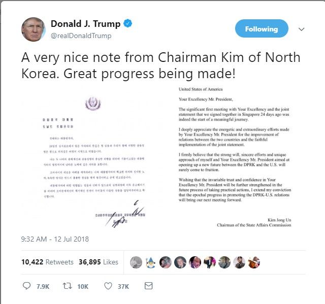 트럼프 대통령 트윗 내용. 트럼프 대통령은 이례적으로 김정은 위원장의 친서를 공개했다.