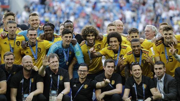 2018년 7월 14일 오후 11시(한국시간) 열린 러시아 월드컵 3·4위전 벨기에와 잉글랜드의 경기. 벨기에 선수들이 승리 후 3위를 차지했다.