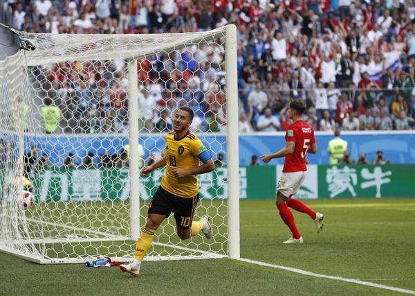 2018년 7월 14일 오후 11시(한국시간) 열린 러시아 월드컵 3·4위전 벨기에와 잉글랜드의 경기. 벨기에의 에당 아자르가 득점 후 환호하고 있다.