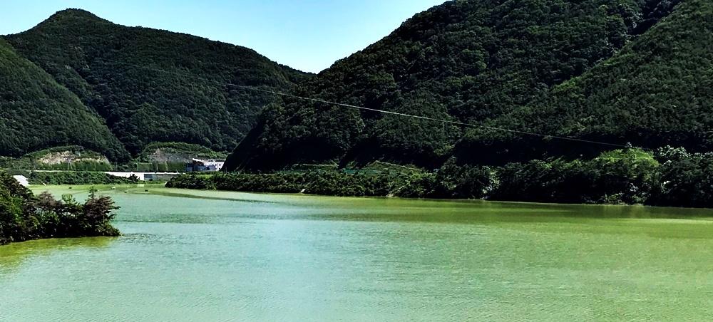 보현산댐 공도교(다리)에서 2km 지점에 설치된 짚와이어를 타고 사람들이 오르내리고 있다.