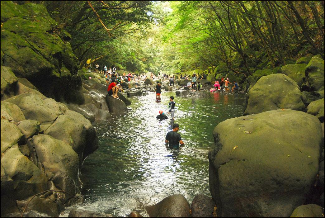 파티에 참가한 관광객들이 돈내코계곡에서 물놀이를 즐기는 모습이다.