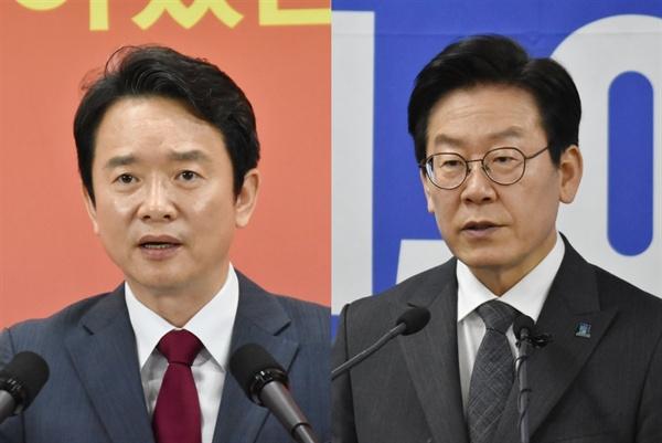 이재명 현 경기도지사(오른쪽)과 남경필 전 경기도지사