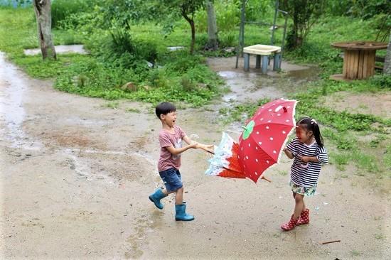 자연을 마당으로 둔 신나는 놀이터 어린이집에서 아이들은 자연과 어우러져 놀 수 있다.