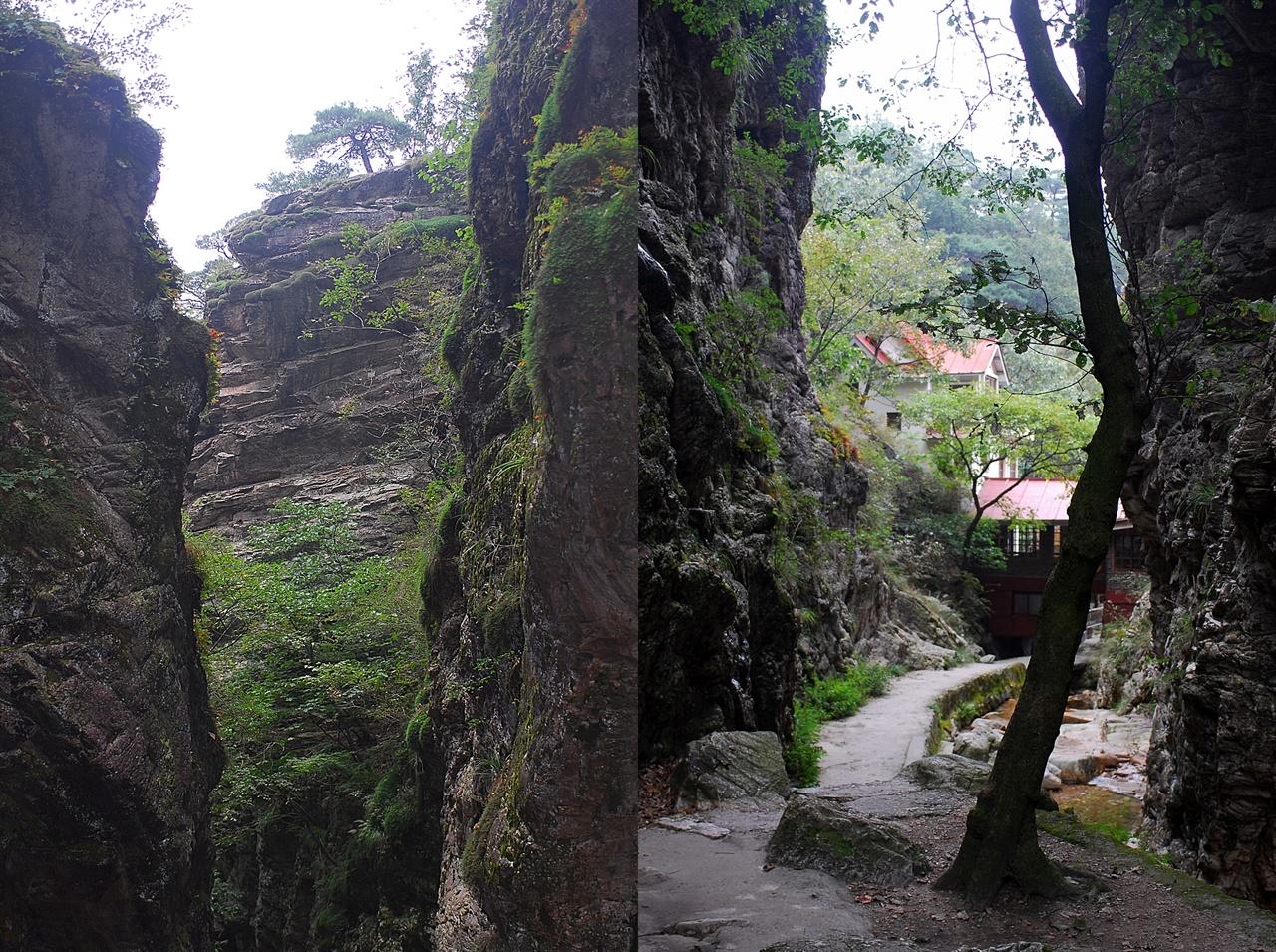등선폭포 협곡 모습  금강굴이라고 불리는 등선폭포 가는 길. 높은 바위 벼랑이 양옆에 바짝 붙어 있어 협곡을 이룬다.