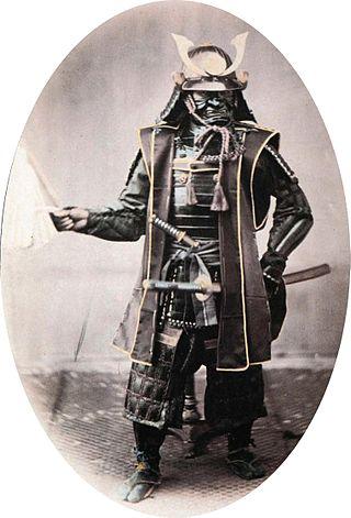 1860년경에 촬영된 일본 무사의 모습.