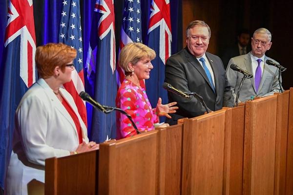24일 미국 캘리포니아에서 열린 미국-호주 외교·국방장관회의.