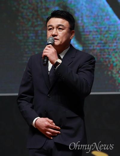 26일 오후 서울 서대문구 연세대 대강당에서 열린 '고 노회찬 국회의원 추도식'에서 영화배우 박중훈씨가 추도사를 하고 있다.