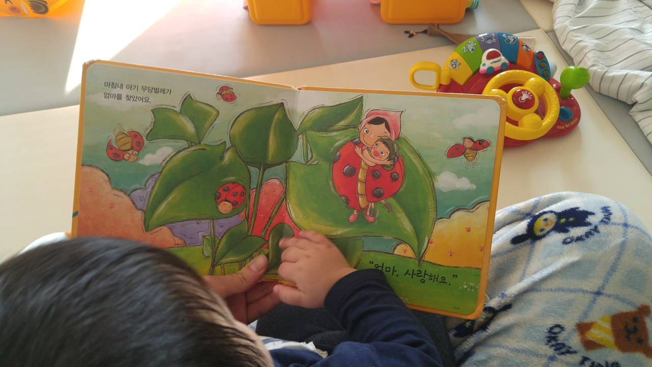 아빠 무릎에서 책 읽는 아기
