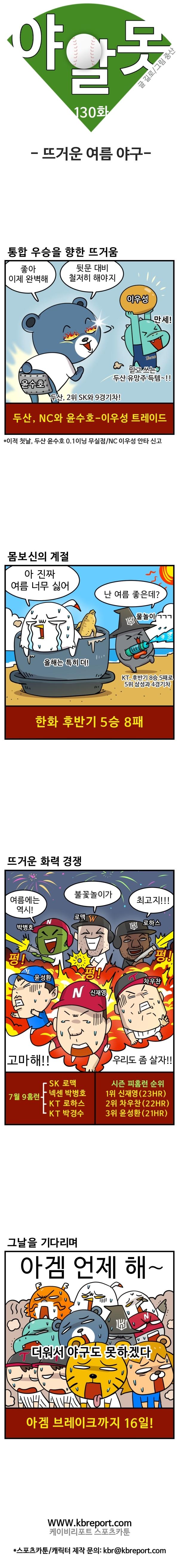 [프로야구 카툰] 야알못 130화: 뜨거운 여름야구